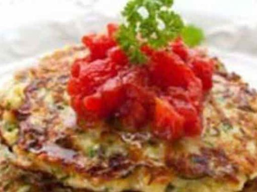 Zucchini Fritters and Capsicum Relish