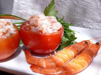 Prawn Stuffed Tomato